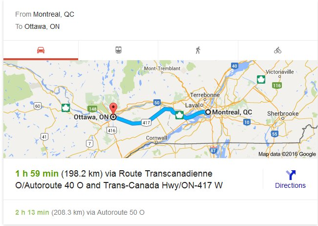 Travel from Montreal to Ottawa – Calculated distance for normal travel