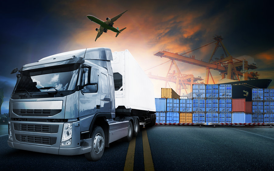 Commercial goods are transported by ship, rail, or truck for cost-effective delivery