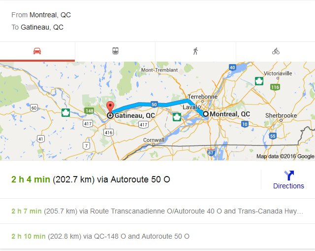 Travel distance from Montreal to Gatineau