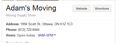 A Adams Moving – Location