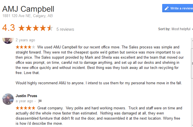 AMJ Campbell – Google reviews