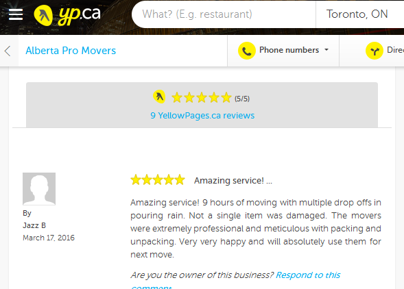 Alberta Pro Movers – Yellow Pages.ca review