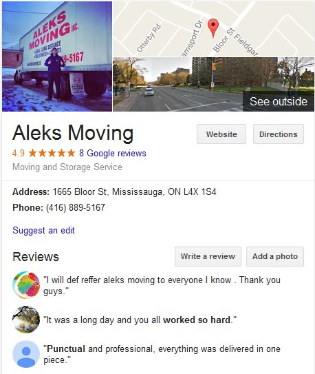 Aleks Moving – Location and reviews