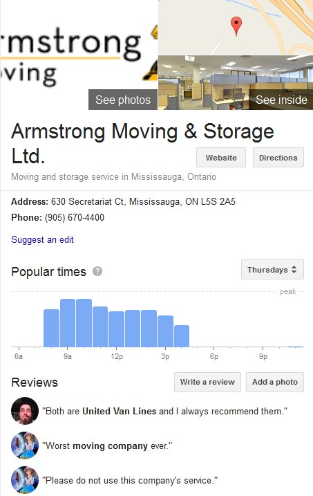 Armstrong Moving and Storage – Location