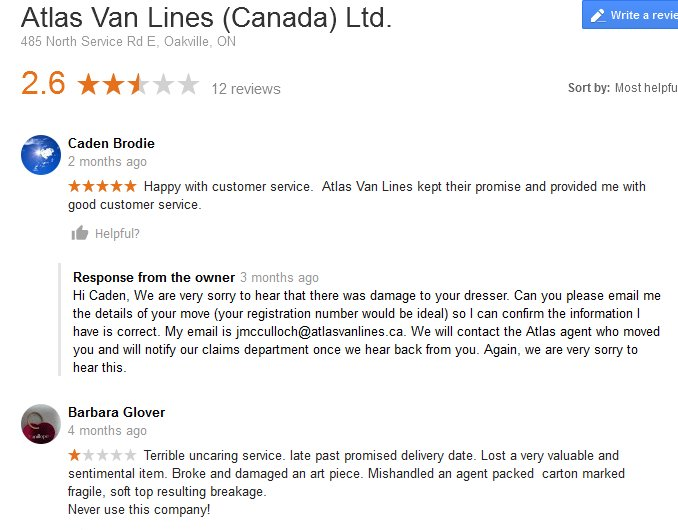 Atlas Van Lines Canada – Moving reviews