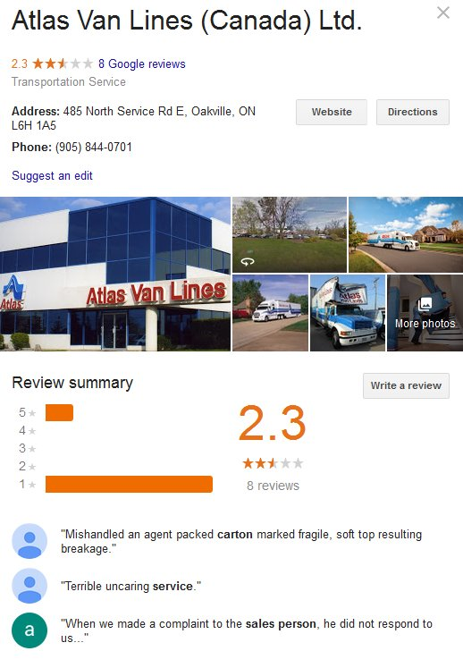 Atlas Van Lines Canada – Location and reviews