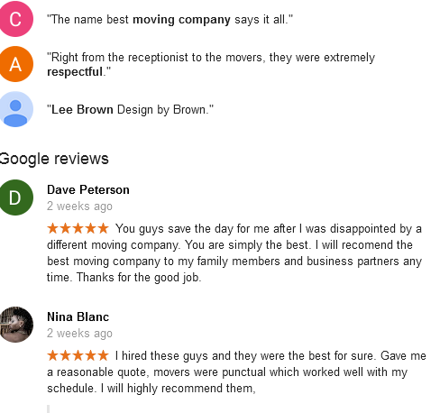 Best Moving Companies Calgary - Customer google reviews