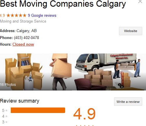 Best Moving Companies Calgary - Google ranking