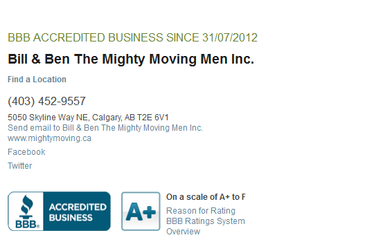 Bill and Ben Movers - BBB reviews