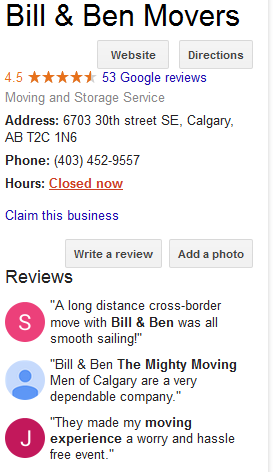 Bill and Ben Movers - Google reviews