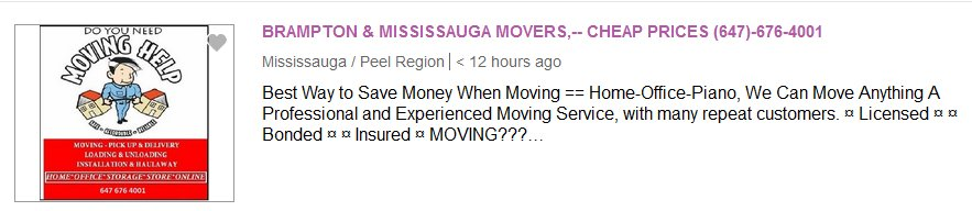 Brampton and Mississauga Movers on Kijiji