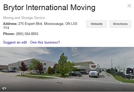 Brytor International Moving - Location