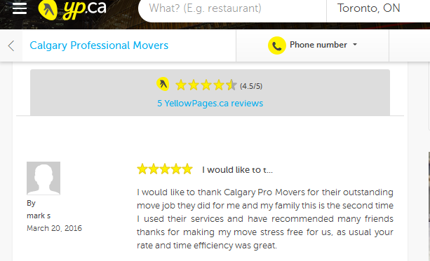 Calgary Professional Movers – Yellow pages.ca review