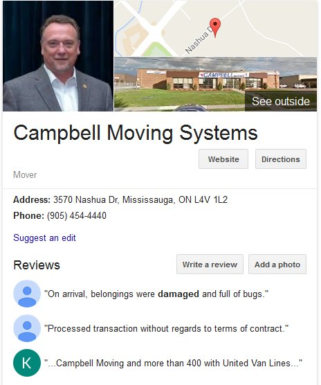 Campbell Moving Systems – Location and reviews