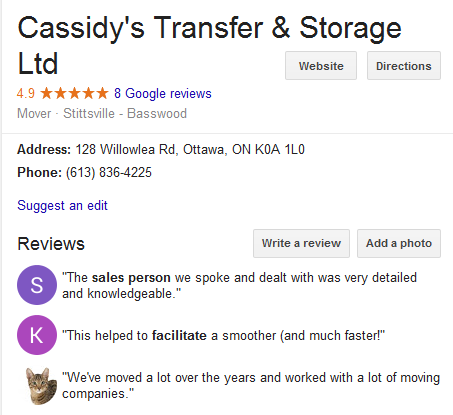 Cassidy's Transfer and Storage – Location