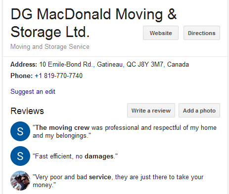 DG MacDonald Moving and Storage – Location and reviews