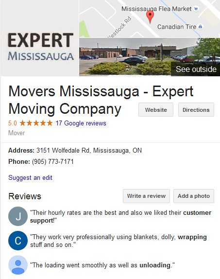 Expert Moving Company – Location and reviews