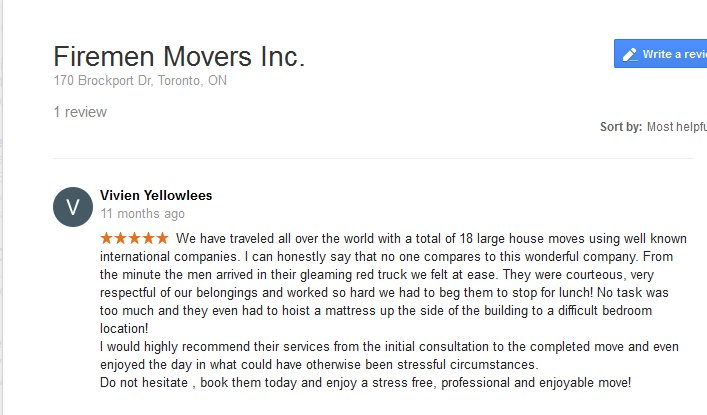 Firemen Movers – Moving review