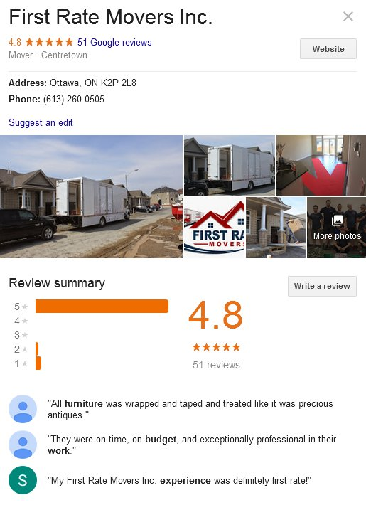 First Rate Movers – Location