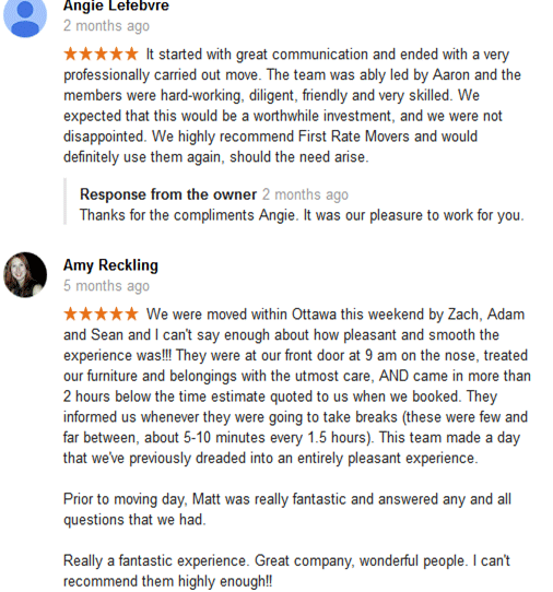 First Rate Movers Customer Reviews