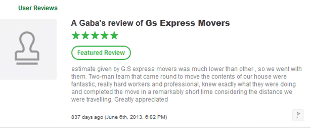 GS Express Movers Customer Review