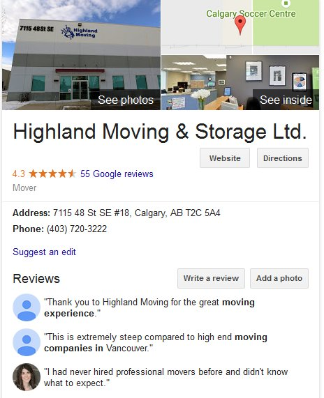Highland Moving and Storage – Location