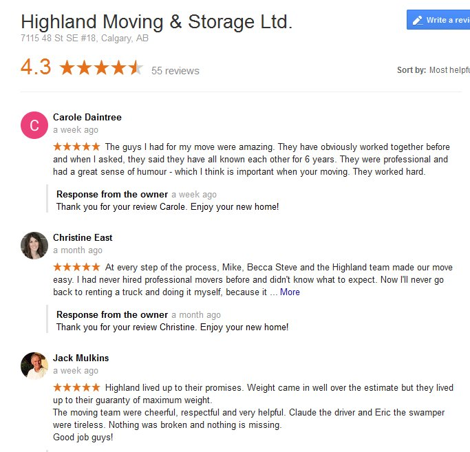 Highland Moving and Storage – Moving reviews