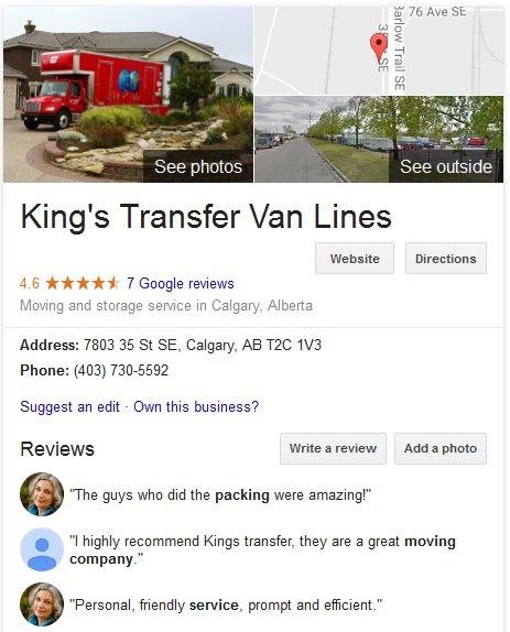 King's Transfer Van Lines – Location