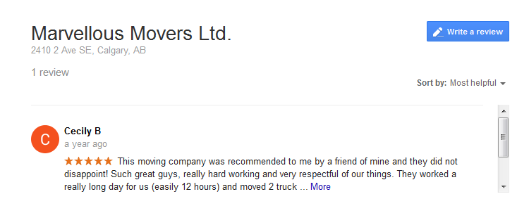 Marvelous Movers – Google review