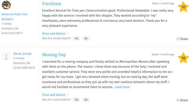 Metropolitan Movers – Customer reviews