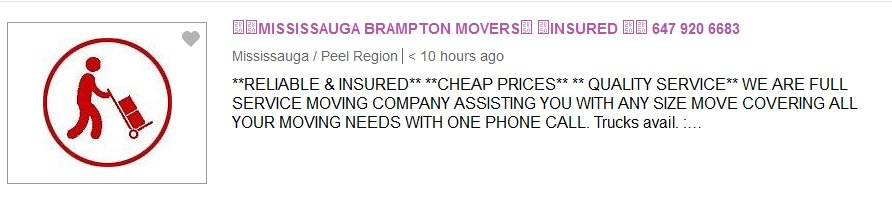 Mississauga Movers Ad
