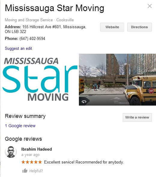 Mississauga Star Moving - Location