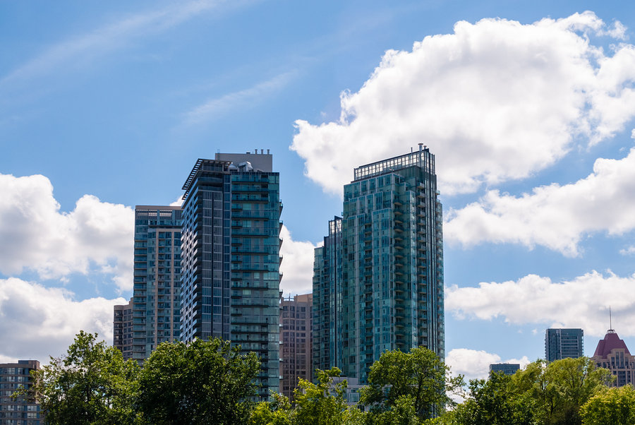 Modern Mississauga skyscrapers fill the city's skyline as it develops rapidly