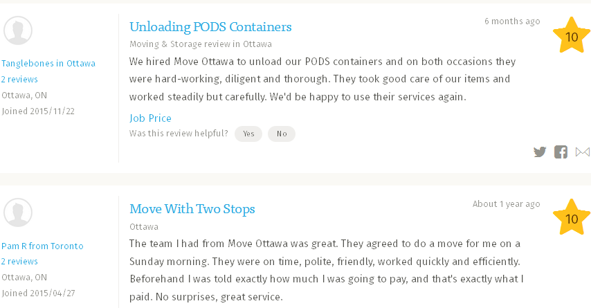 Move Ottawa – Moving reviews