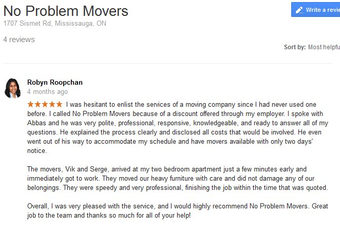 No Problem Movers – Moving review