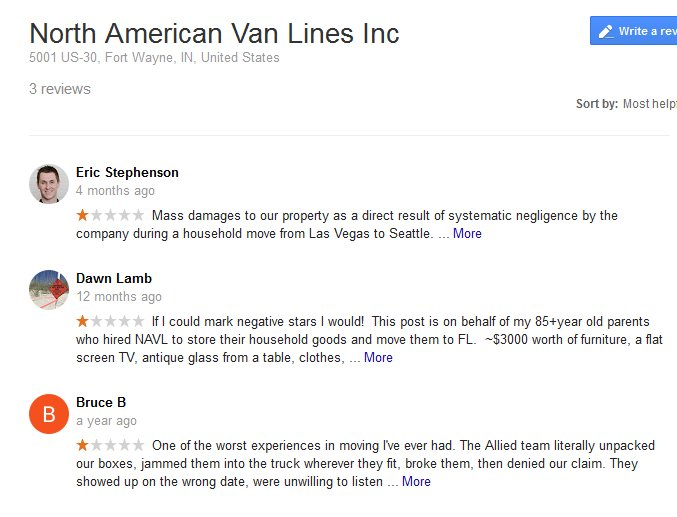 North American Van Lines – Moving reviews