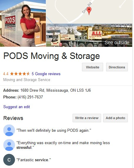 PODS Moving and Storage – Customer reviews
