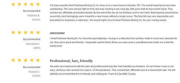 Parkview Moving – Customer Reviews