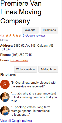 Premiere Van Lines – Google reviews