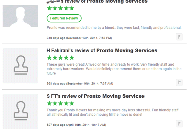 Pronto Movers Customer Reviews