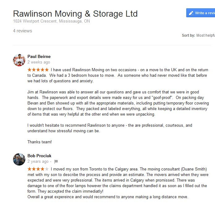 Rawlinson Moving and Storage – Moving reviews