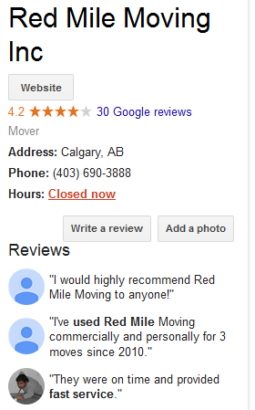 Red Mile Moving – Google reviews