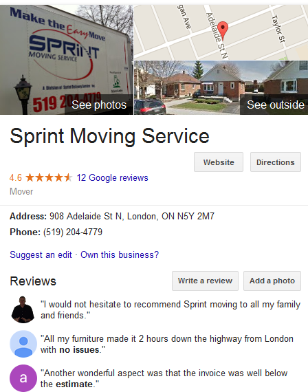 Sprint Moving Service – Location