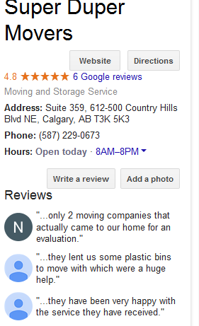 Super Duper Movers – Google reviews