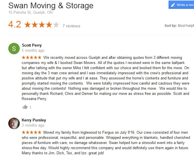 Swan Moving and Storage – Moving reviews