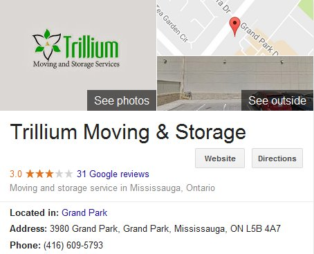 Trillium Moving and Storage – Location