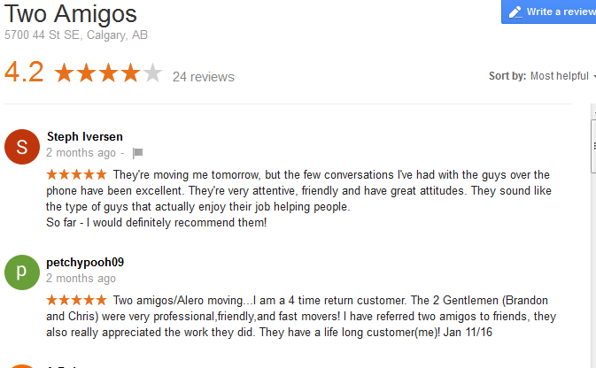 Two Amigos Moving - Google reviews