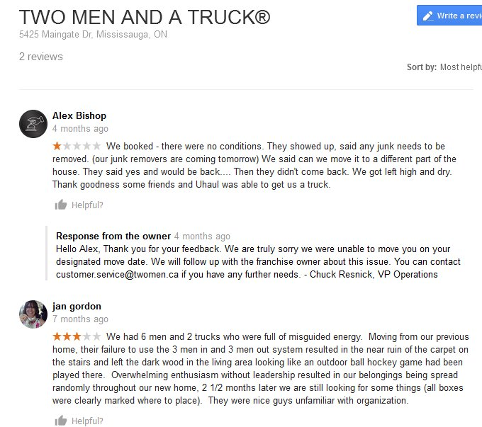 Two Men and a Truck - Moving reviews
