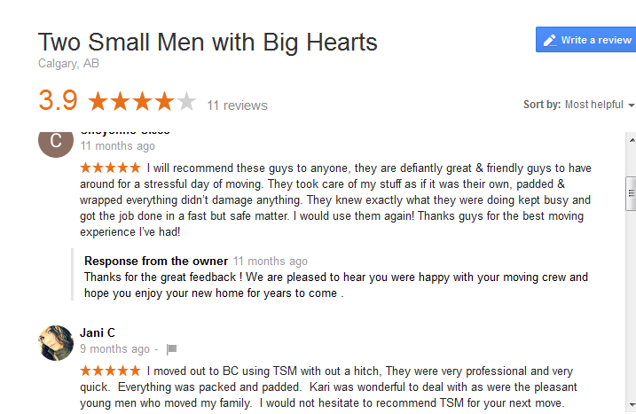 Two small men with big hearts – Google reviews