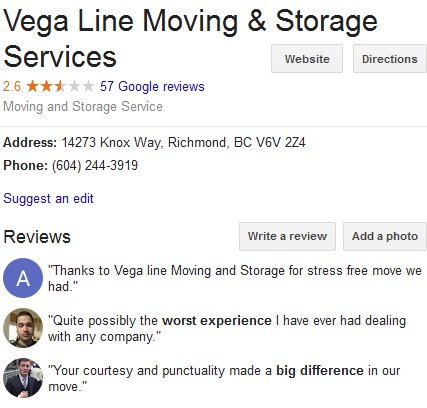 Vega Line Moving & Storage Services – Location